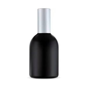 Botella cosmética negra, envase de tratamiento capilar, producto para hombres.