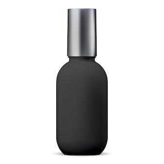 Botella cosmética negra. paquete de champú de plástico 3d
