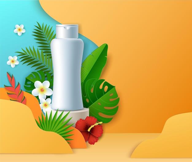 Botella cosmética en la pantalla podio papel cortado flores exóticas ilustración vectorial producto de belleza ad tro ...