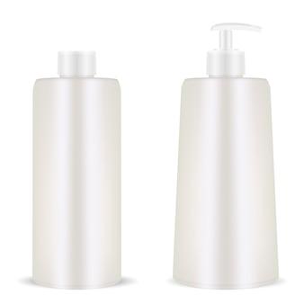 Botella cosmética de plástico en blanco. dispensador de la bomba. realista