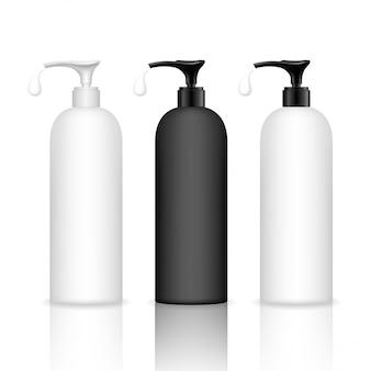 Botella cosmética de plástico con bomba dispensadora. contenedor de líquido para gel, loción, crema, champú, espuma de baño. paquete de productos de belleza.
