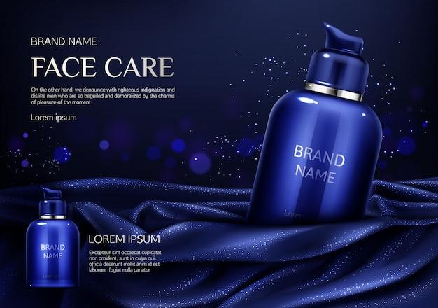 Botella cosmética producto de belleza natural