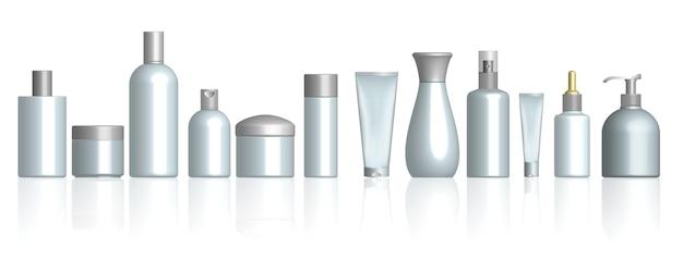 Botella cosmética realista aislado o paquete cosmético blanco