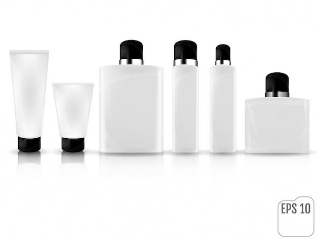 Botella cosmética realista maqueta conjunto