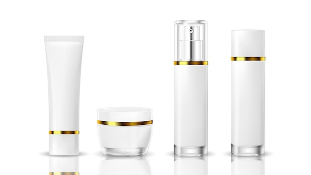 Botella cosmética realista sobre un fondo blanco