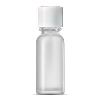 Botella cosmética de vidrio. frasco transparente realista.