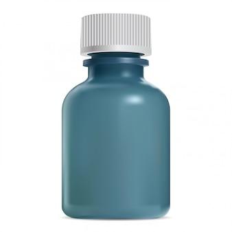 Botella cosmética de vidrio con tapa de rosca blanca. tarro