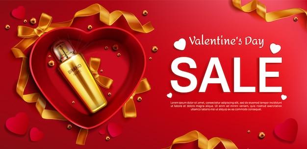 Botella de cosméticos para banner de venta de san valentín