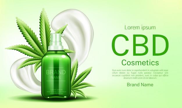 Botella de cosméticos cbd con frotis de crema y hojas