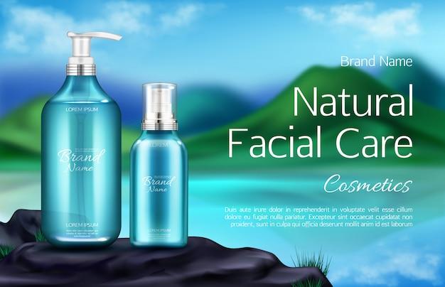 Botella de cosméticos en el fondo del paisaje de montaña