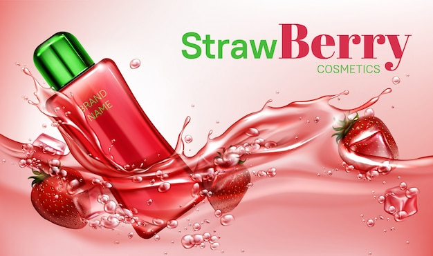 Botella de cosméticos de fresa flotando en el agua