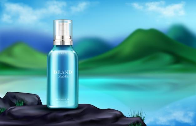 Botella de cosméticos en publicidad de paisaje de montaña