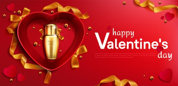 Botella de cosméticos para san valentín en banner de caja de corazón
