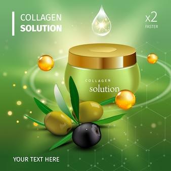 Botella de crema de colágeno realista sobre fondo verde. ilustración
