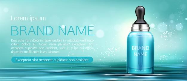 Botella de crema cosmética con pipeta maqueta banner