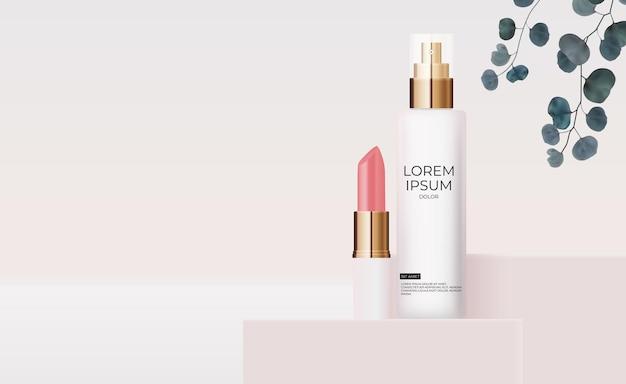 Botella de crema pastel rosa realista 3d y lápiz labial con hojas de eucalipto.