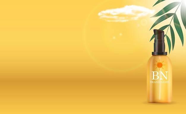 Botella de crema de protección solar realista 3d con hojas de palma y nube