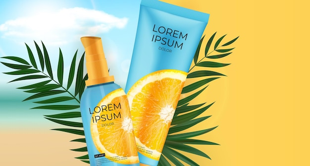 Botella de crema protectora solar de vitamina c realista 3d.