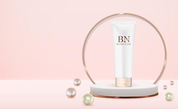 Botella de crema realista 3d con perla.