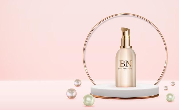 Botella de crema realista 3d sobre fondo pastel con perla