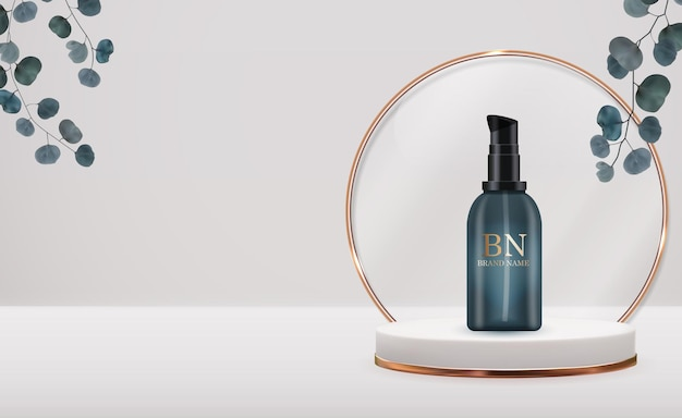 Botella de crema realista 3d sobre pedestal con hojas de eucalipto