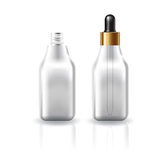 Botella cuadrada cosmética clara en blanco con tapa cuentagotas.