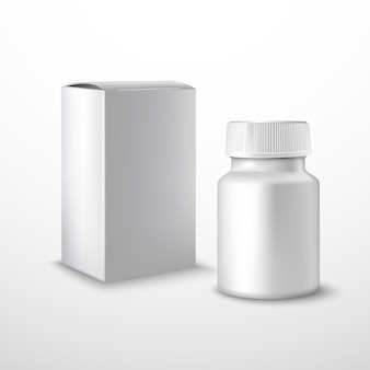 Botella de medicina en blanco