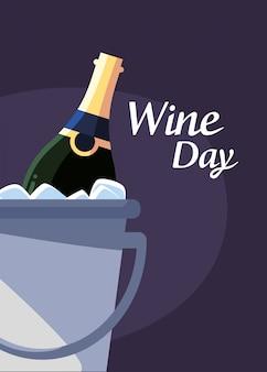 Botella dentro del cubo de hielo del día del vino