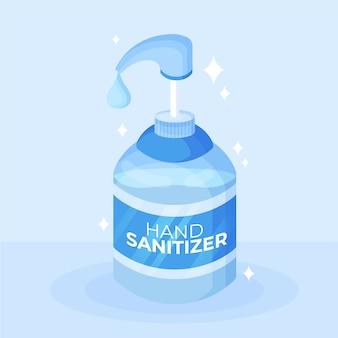 Botella desinfectante de manos con diseño plano de bomba