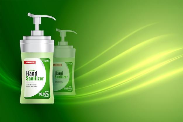 Botella desinfectante para manos en estilo realista 3d