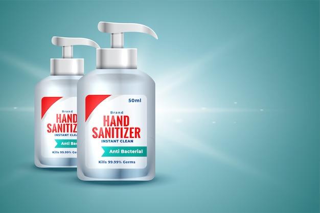 Botella desinfectante de manos realista en estilo 3d