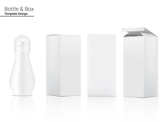 Botella de desodorante 3d cosmética realista en blanco y caja para productos para el cuidado de la piel. atención médica y diseño de concepto médico.