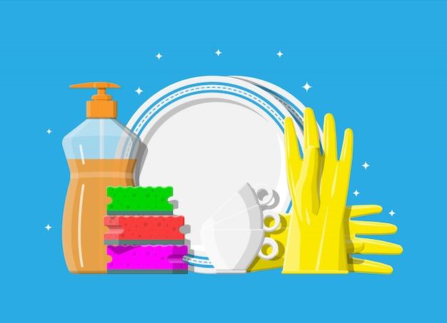 Botella de detergente, esponja y guantes de goma.