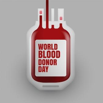 Botella de donación de sangre para el día mundial del donante de sangre.