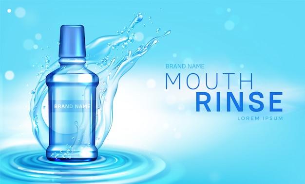 Botella de enjuague bucal en cartel de salpicaduras de agua
