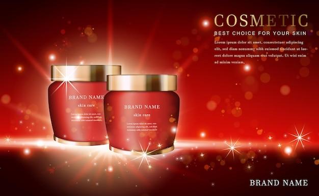 Botella de esencia de producto cosmético 3d con rojo brillante
