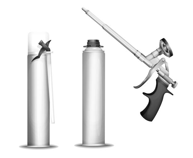 Botella de espuma de construcción de pistola de pulverizador de espuma 3d pu o pistola y contenedores metálicos