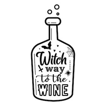 Una botella de estilo minimalista con la inscripción the witch's way to wine,