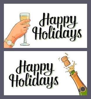 Botella de explosión de champagne con corcho y copa de mano femenina. letras de felices fiestas. ilustración plana de color vectorial para feliz navidad, año nuevo. aislado sobre fondo blanco