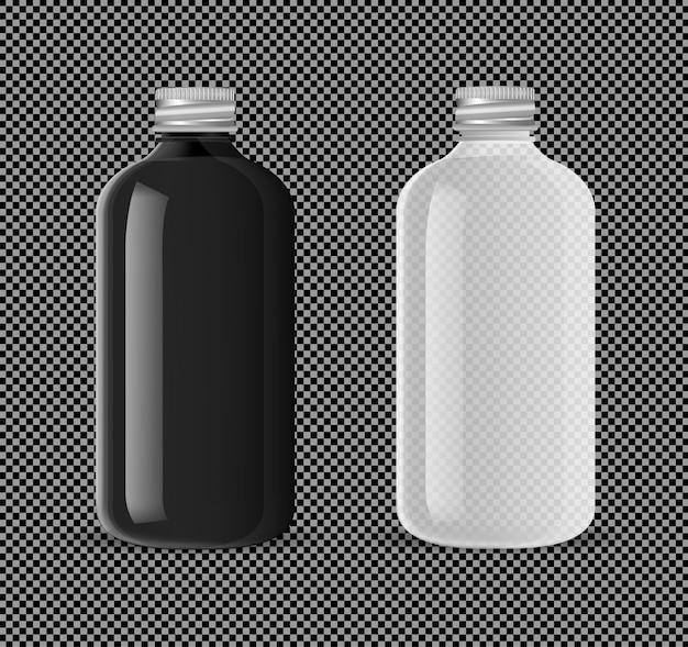 Botella de farmacia transparente producto líquido médico