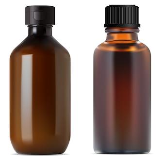 Botella de farmacia de vidrio marrón. frasco de jarabe médico.