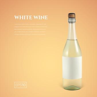Botella fotorrealista de vino blanco espumoso sobre amarillo