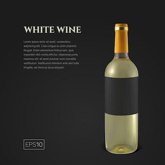 Botella fotorrealista de vino blanco sobre fondo negro. botella transparente de vino. plantilla para presentación de producto o publicidad en estilo minimalista.