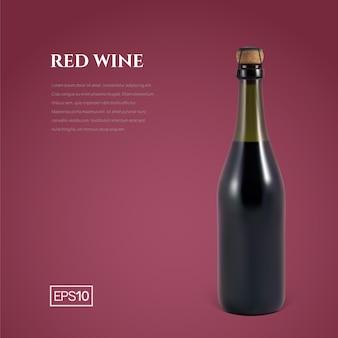 Botella fotorrealista de vino espumoso rojo en borgoña