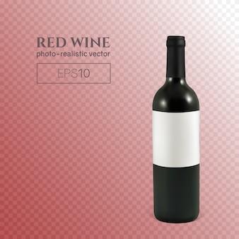 Botella fotorrealista de vino tinto sobre un fondo transparente