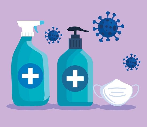 Botella de jabón desinfectante de manos con mascarilla