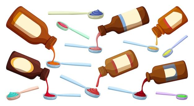 Botella de jarabe de dibujos animados aislado establece icono. ilustración aceite médico sobre fondo blanco. conjunto de dibujos animados icono botella de jarabe.
