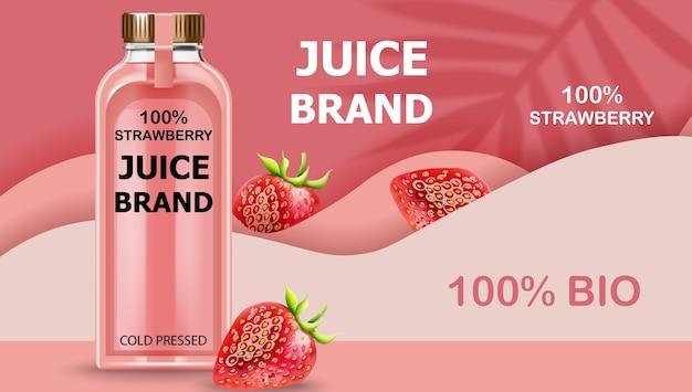 Botella de jugo bio prensado en frío con fresas y ondas rosadas de fondo. realista