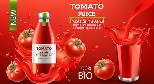 Botella de jugo biológico fresco y natural sumergido en líquido que fluye y tomates con una taza de líquido para salpicaduras. lugar para el texto. realista