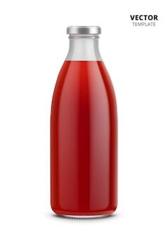 Botella de jugo maqueta de vidrio aislado